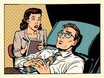 Kvinnlig tålmodig manlig sympati för psykolog Royaltyfri Foto