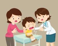 Kvinnlig tålmodig pojke för doktor Comforting Her Crying med mamman royaltyfri illustrationer