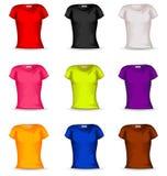 Kvinnlig t-skjorta för vektor i färg 9 Royaltyfri Foto