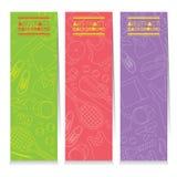 Kvinnlig tenniskugghjuluppsättning av tre abstrakta färgrika vertikala baner Royaltyfri Fotografi