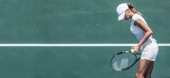 Kvinnlig tennisspelare Arkivfoto