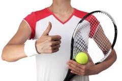 Kvinnlig tennisspelare som gör det ok tecknet Arkivfoto
