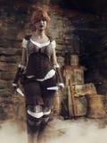 Kvinnlig tjuv f?r fantasi i en slott arkivbilder