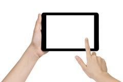 Kvinnlig tonårig hand som rymmer den generiska minnestavlan Fotografering för Bildbyråer
