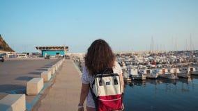 Kvinnlig turist i port i afton stock video