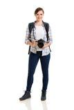 Kvinnlig turist- vit Royaltyfria Bilder