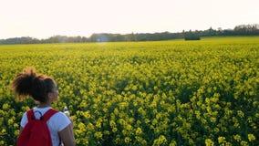 Kvinnlig ung kvinna för flickatonåring som fotvandrar med den röda ryggsäcken och flaskan av vatten i fältet av gula blommor stock video