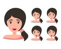 Kvinnlig ung teckenframsida med olik sinnesrörelse r vektor illustrationer