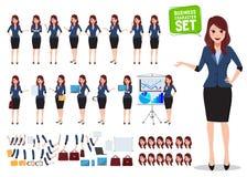 Kvinnlig uppsättning för affärsteckenvektor Kontorskvinnan som talar med olikt, poserar royaltyfri illustrationer
