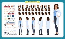 Kvinnlig uppsättning för doktorsteckenskapelse Framdelen sidan, baksidasikt animerade teckenet Uppsättning för doktorsteckenskape vektor illustrationer
