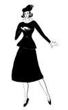Kvinnlig utomhus- dräkt av 30th år för svart sammet Royaltyfria Bilder