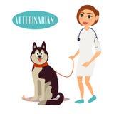 Kvinnlig veterinär Doctor med hunden vektor illustrationer