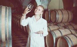 Kvinnlig vinhusarbetare som kontrollerar kvalitet av produkten Royaltyfri Foto