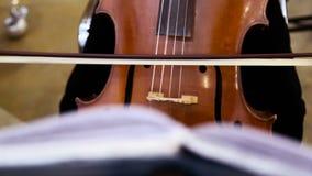 Kvinnlig violoncellspelare som spelar violoncellen Slut upp av kvinnahanden som spelar violoncellen stock video