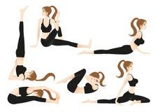 Kvinnlig yogainstrukt?r Allows f?r tecknad film dig som p? egen hand spelar yoga royaltyfri illustrationer