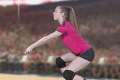 Kvinnlig yrkesmässig volleybollspelare på volleybolldomstolen arkivbild