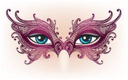 Kvinnliga ögon snör åt in maskeringen royaltyfri illustrationer