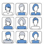 Kvinnliga avatars för användare för profilsida Linje plana symboler Royaltyfri Bild