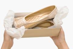 Kvinnliga beigaskor, skor för kvinnashoppingbeiga Arkivfoton