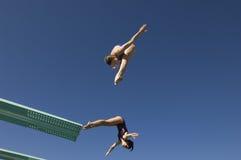 Kvinnliga dykare som dyker i Midair arkivfoton