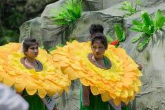Kvinnliga folk dansare i färgrikt smink Arkivbilder