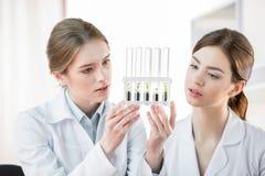 Kvinnliga forskare i laboratorium Arkivfoton