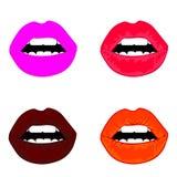 Kvinnliga glansiga kulöra kanter för rengöringsduk som kysser och visar tungan, vita tänder eller leendet och lyckliga, förvånade stock illustrationer
