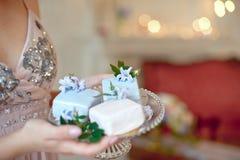 Kvinnliga händer för närbild som rymmer spegel glasade kakor arkivbilder