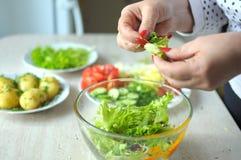 Kvinnliga händer lagar mat grönsaksallad på köket Arkivfoto