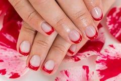 Kvinnliga händer med Manicured spikar fernissa Arkivfoton