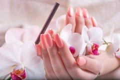 Kvinnliga händer med rosa färger spikar försiktigt polerar vårfärg som rymmer vita orkidér, blommar i skönhetstudio arkivfoton