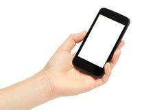 Kvinnliga händer rymmer en mobiltelefon, modellmall bakgrund isolerad white Arkivfoto
