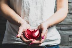 Kvinnliga händer rymmer en röd metallhjärta arkivbild
