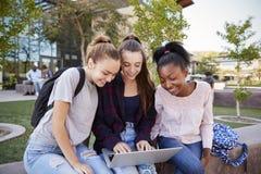 Kvinnliga högstadiumstudenter som utomhus använder Digital apparater under fördjupning royaltyfria foton