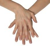 kvinnliga händer två Arkivbilder