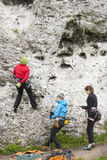 Kvinnliga klättrare, aktiva kvinnor Arkivfoto