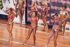 Kvinnliga kroppsbyggare i abs och lår poserar på etapp Royaltyfri Foto