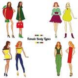 Kvinnliga kroppstyper och kroppformer stock illustrationer