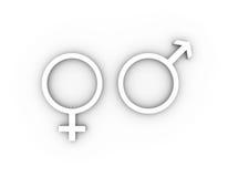 Kvinnliga och manliga genussymboler i vit. Royaltyfri Fotografi