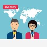 Kvinnliga och manliga TVpresentatörer sitter på tabellen Levande nyheterna stock illustrationer