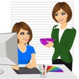 Kvinnliga rektorn kommer att behandla hennes underordnade arbete som grafisk formgivare med hemlagad mat på kontoret stock illustrationer