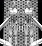 Kvinnliga robotic skyltdockor Arkivbilder