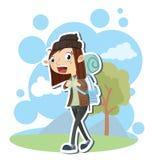 Kvinnliga ryggsäckar vektor illustrationer