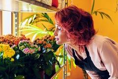 Kvinnliga seende blommor för rödhårig man royaltyfria bilder