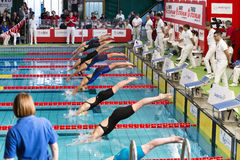 Kvinnliga simmare som startar under 7th för Milano för Trofeo cittadi konkurrens simning Arkivfoto