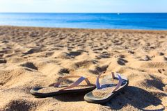 Kvinnliga sommarskor på stranden royaltyfri foto