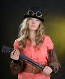Kvinnliga Steampunk. Arkivbilder
