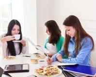 Kvinnliga studenter som tillsammans hemma studerar Fotografering för Bildbyråer