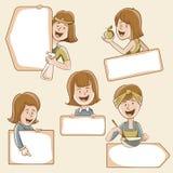 Kvinnliga tecken stock illustrationer