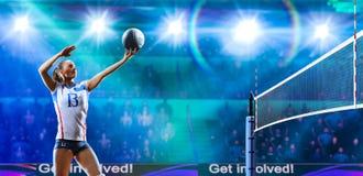 Kvinnliga yrkesmässiga volleybollspelare i handling på den storslagna domstolen fotografering för bildbyråer